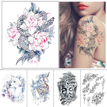 Black Waterproof fake tattoo Flower unicorn joss bird Color printed temporary tattoo sticker for man and woman Arms thighs