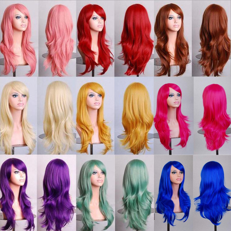 Soowee 70cm Curly Long Blue Cosplay Wig Synthetic Hair Pink Black Wigs For African Americans Women Fake Hairpieces