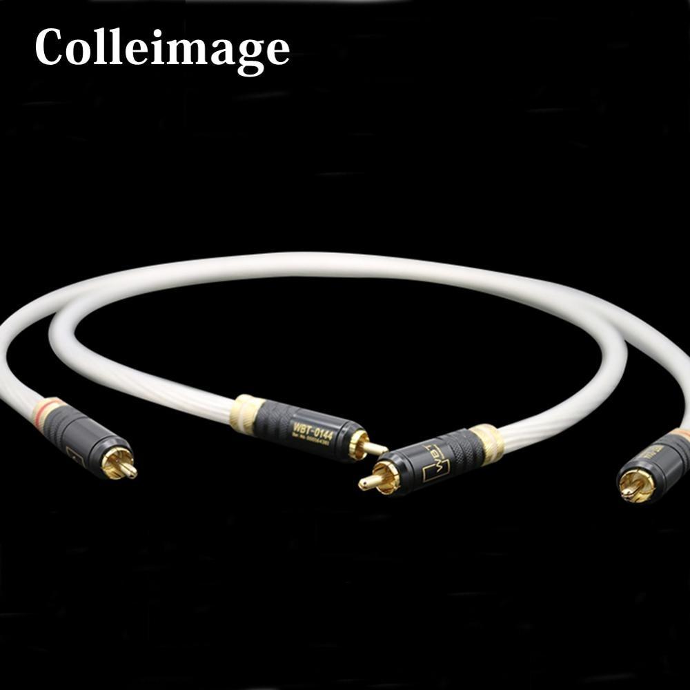 Colleimage Hifi WBT-0144 prise plaqué or câble Audio RCA double 2RCA à 2RCA mâle CD DVD amplificateur interconnexion câble RCA