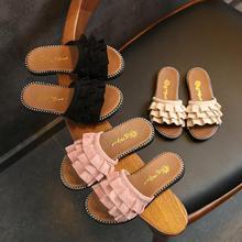 Детские домашние уличные тапочки для девочек; сандалии принцессы; Новинка года; Летние Флисовые Тапочки для девочек; Детские пляжные тапочки на плоской подошве для девочек