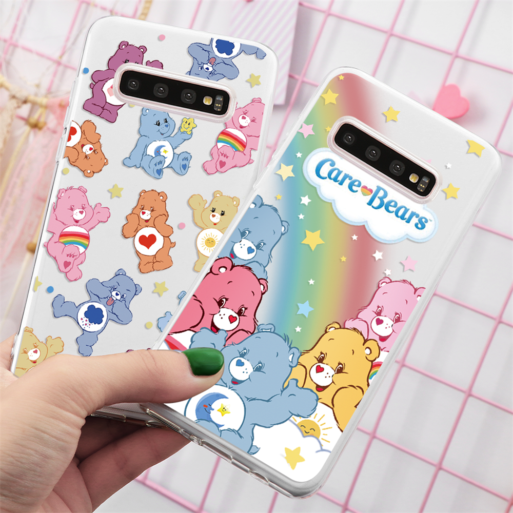 <font><b>Care</b></font> <font><b>Bears</b></font> Cartoon Für Samsung Galaxy S8 S9 Plus A10 A80 A90 A50 A60 A70 A40 A30 S7 S10 A20 m10 M20 M40 M30 INS Regenbogen TPU Fall image