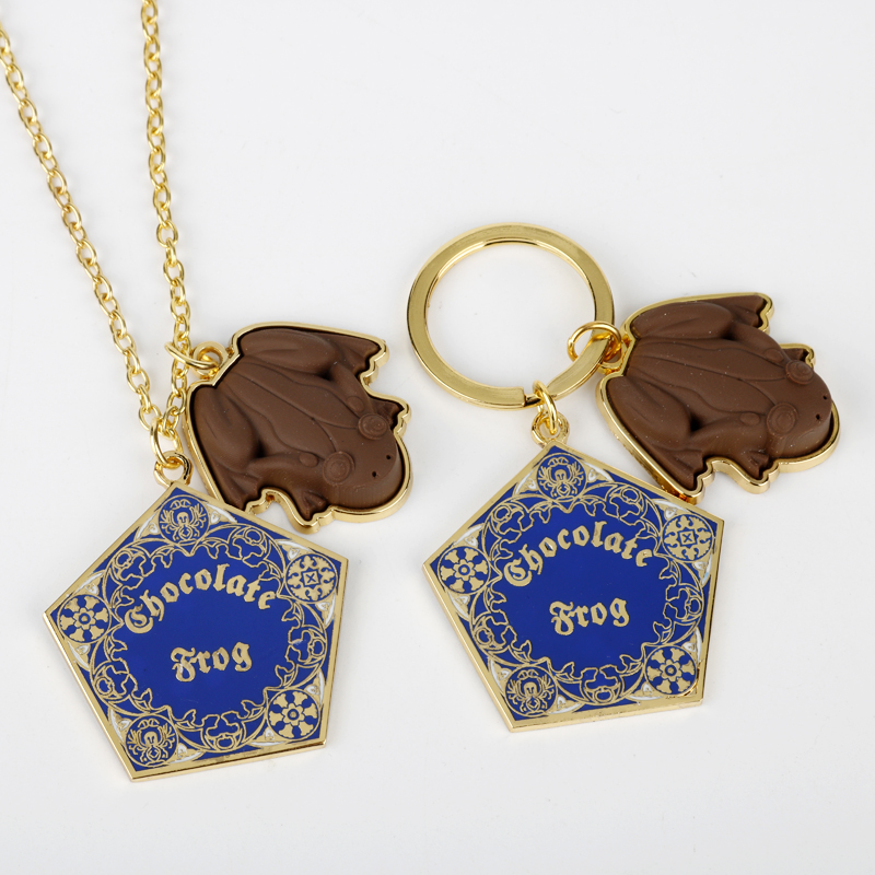 HP Fantastic Beasts Chocolate Frog Gold Metal Pendant Keychain <font><b>Necklace</b></font> <font><b>Hogwarts</b></font> School Keyring Chain Ornament Cosplay Jewelry image