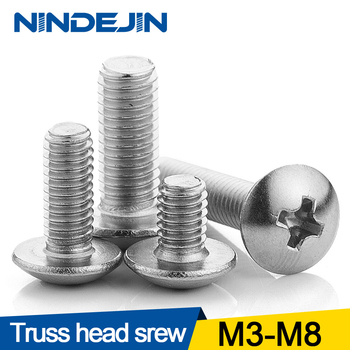цена на 10/55pcs Cross Recessed Truss Head Machine Screws M3 M4 M5 M6 M8 Mushroom Big Flat Head Screw 304 Stainless Steel Philips Screw