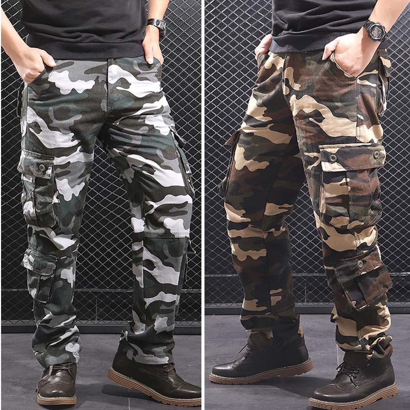 Camouflage Men's Cargo Pants Men Casual Camo Multi Pockets Military Tactical Pants Hip Hop Joggers Streetwear Pantalon Homme