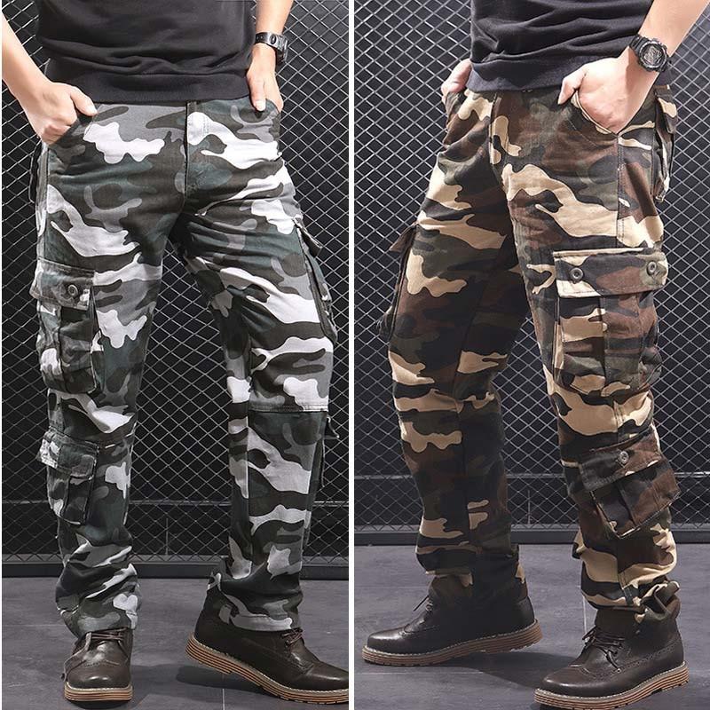 Camouflage Men's Cargo Pants Men Casual Camo Multi Pockets Military Tactical Pants Hip Hop Joggers Streetwear Pantalon Homme