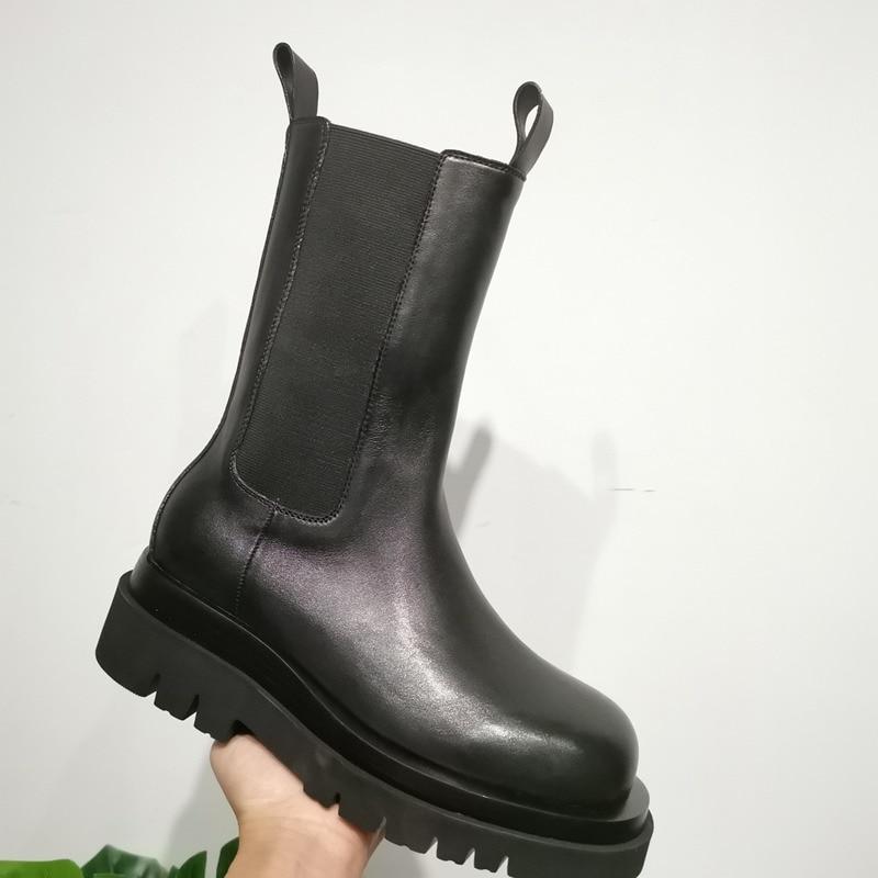 Biker Style Chelsea Boots Leather Slip on Square Toe Shoes Block Heel Black