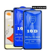 Vidro temperado pçs/lote para iphone, vidro temperado para proteção de tela de iphone xs max xr x 8 7 6s plus 11 pro max filme vidro cobertura completa 10d pacote de varejo