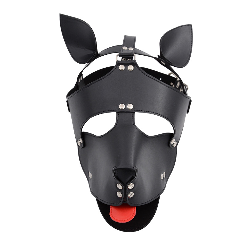 Black Red <font><b>Dog</b></font> Headgear Bdsm Bondage Hood <font><b>Mask</b></font> Bondage Head Harness Fetish Restraint Sexy Cosplay Sm Game <font><b>Sex</b></font> Toy For Couples image