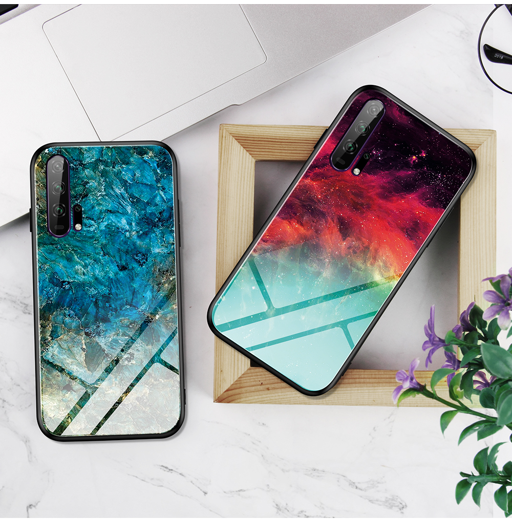 H7cb5cd2de4ba468391c0b7f15d60042fN Phone Case for Huawei Honor 20s 20 Case Marble Tempered Glass Soft Tpu Frame Back Case for Huawei Honor 20s Honor 20 Pro Case