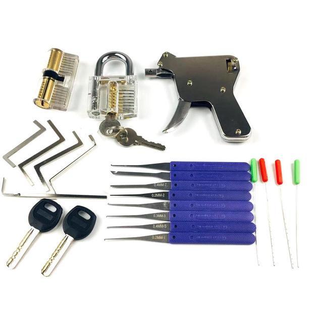 2PCS Transparent Lock with Lock Tool Gun,12pcs Broken Key Remove Picking Tool Tension Tool,Best Locksmith Tools Practice PickSet