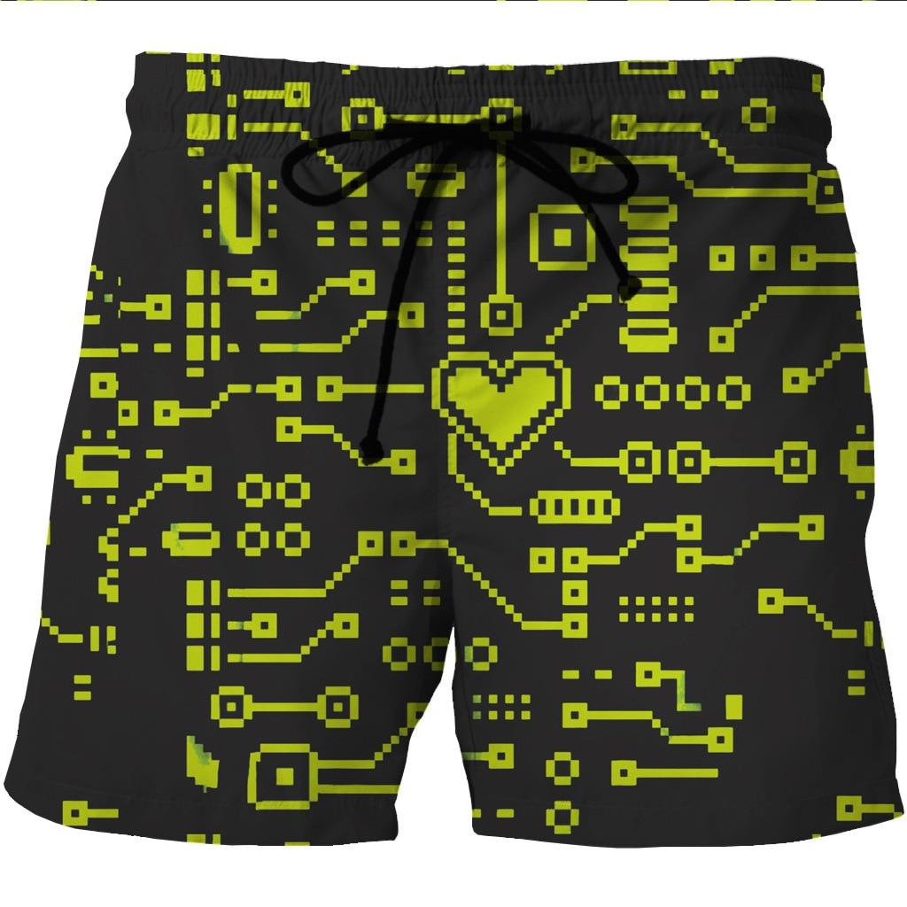 Digital Printed Men's Quick-drying Beach Shorts Creative Printed Side Pocket Casual Shorts