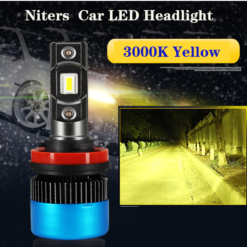Niters H11 H7 car headlamps-kit or fog lights <font><b>bulbs</b></font> <font><b>3000K</b></font> yellow 80W 10000LM mini H1 9005/HB3 9006/<font><b>HB4</b></font> 9012 LED canbus lampada image