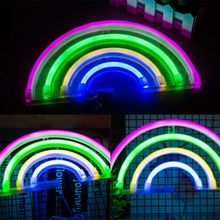 USB Creative Rainbow Neon Light Cute Colorful Lamp for Wedding Party Home Decor Q84D for LED