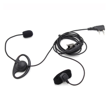 2 Pin D Shape Earhook Earpiece Headset with Finger PTT + Mic for Kenwood BaoFeng UV-5R GT-3TP UV-82HP BF-F8 BF-888S PX-888K TYT