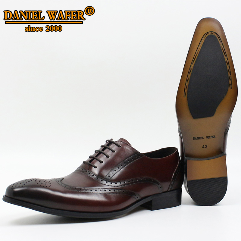 Mens Shoes Lace Up Business Spring Round Toe Wedding Dress Rubber Brogue Leather