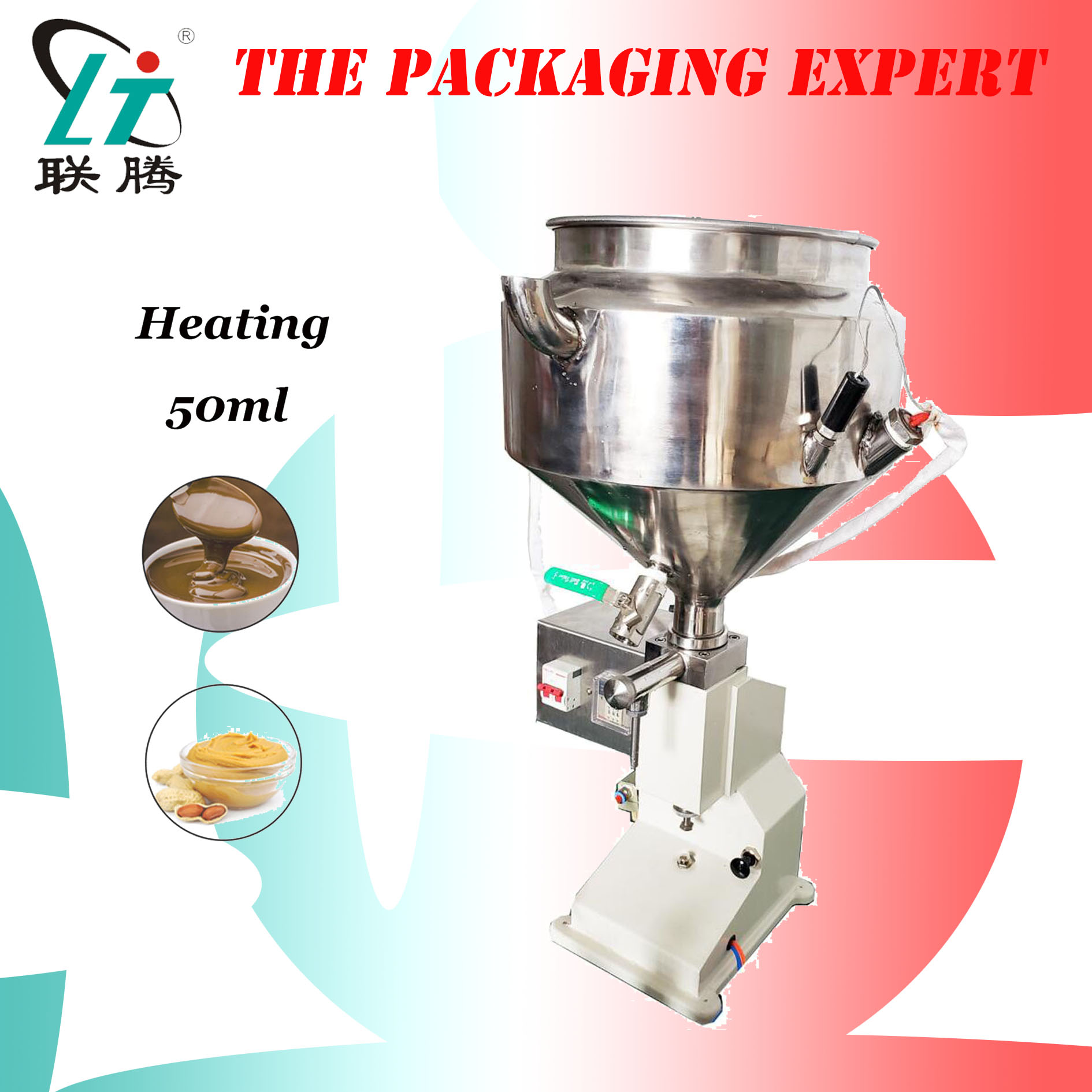 Heating Hopper Filler Pneumatic Filling Machine Cream Food Paste Dispensing Peanut Butter Temperature Controller Free Shipping