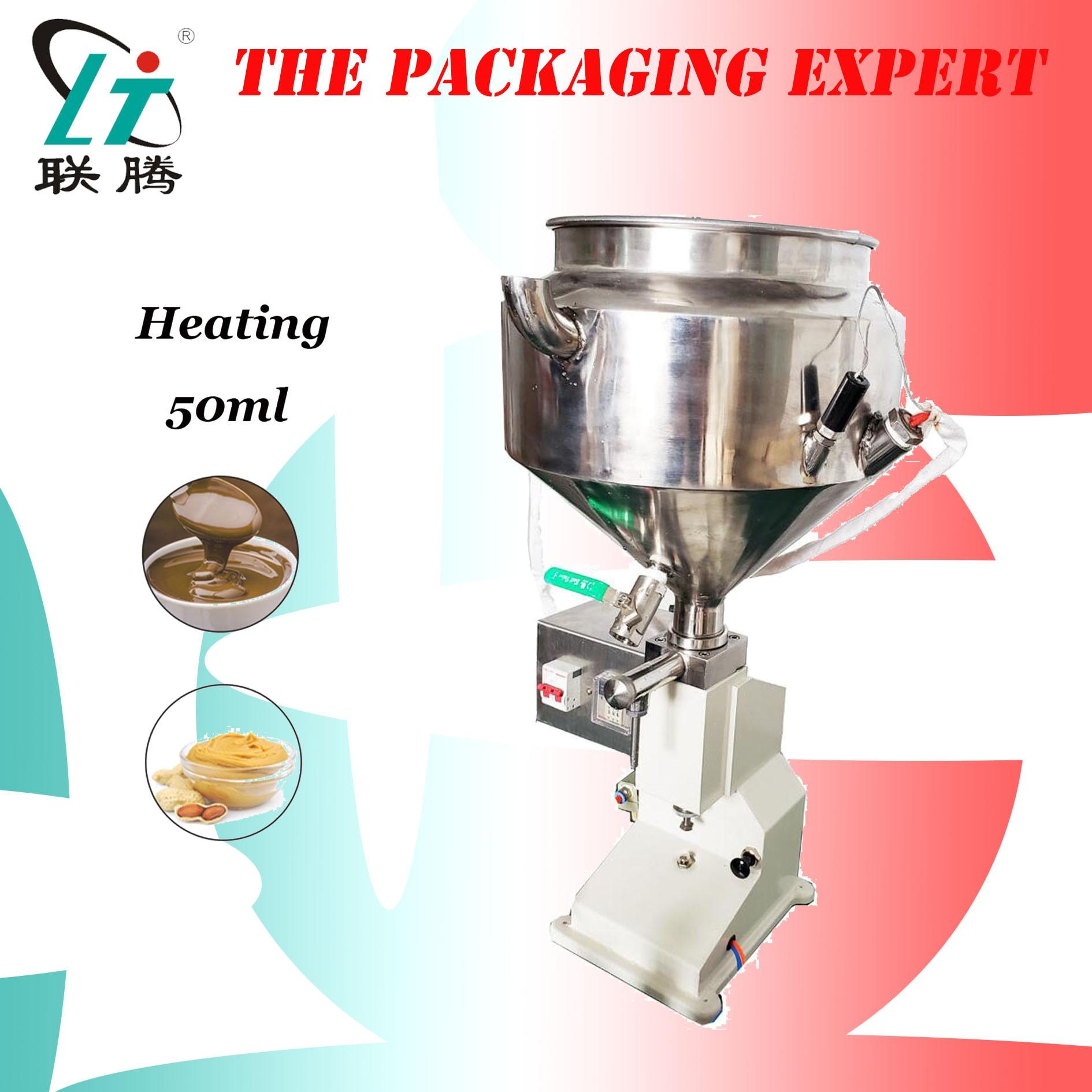 Heating Hopper Filler Pneumatic Filling Machine Cream Food Paste Dispensing Peanut Butter Temperature Controller Free Shipping