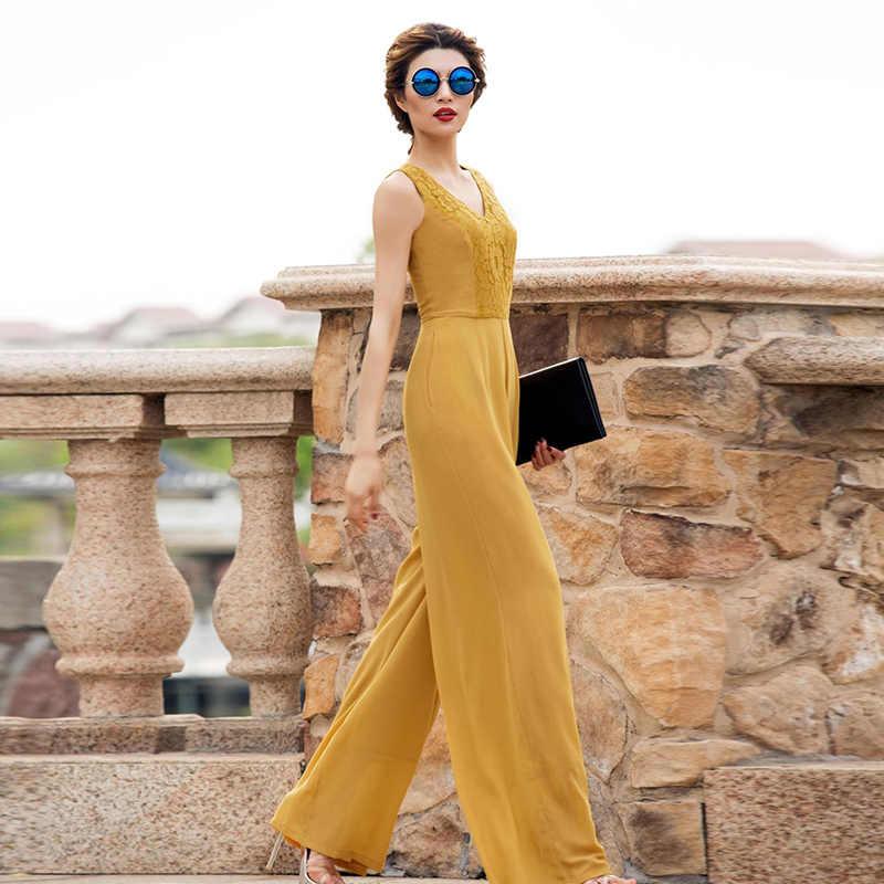 2019 kombinezon kobiety lato kombinezon na przyjęcie szyfonu elegancki szafirowy niebieski pełnej długości koronki główna ulica kombinezony Plus rozmiar 3XL 4XL