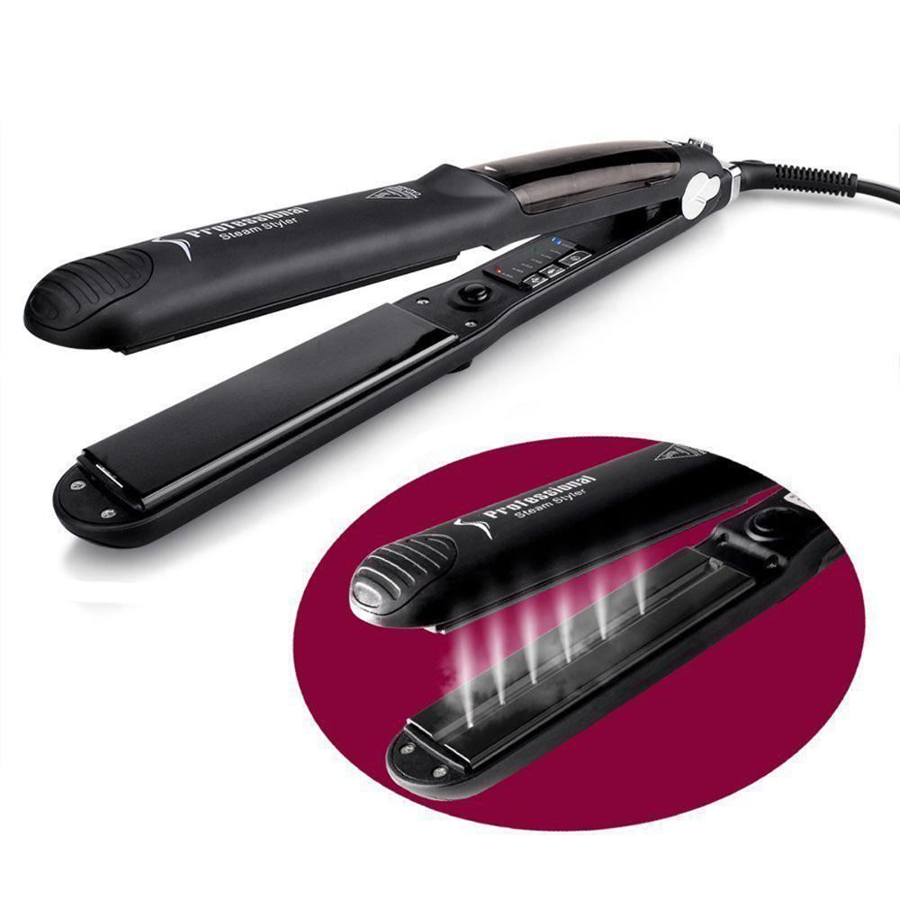 Professional Ceramic Steam Hair Straightener Fast Heating Hair Flat Iron VaporStraightening Iron Curler Steamer Hair Style Tool