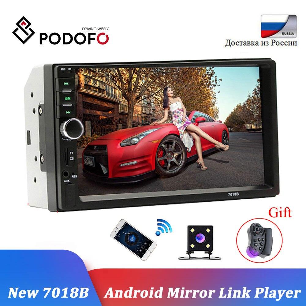 Podofo 2 Din Autoradio Bluetooth 2din voiture lecteur multimédia 7 HD tactile Autoradio MP5 USB Audio stéréo avec caméra de recul