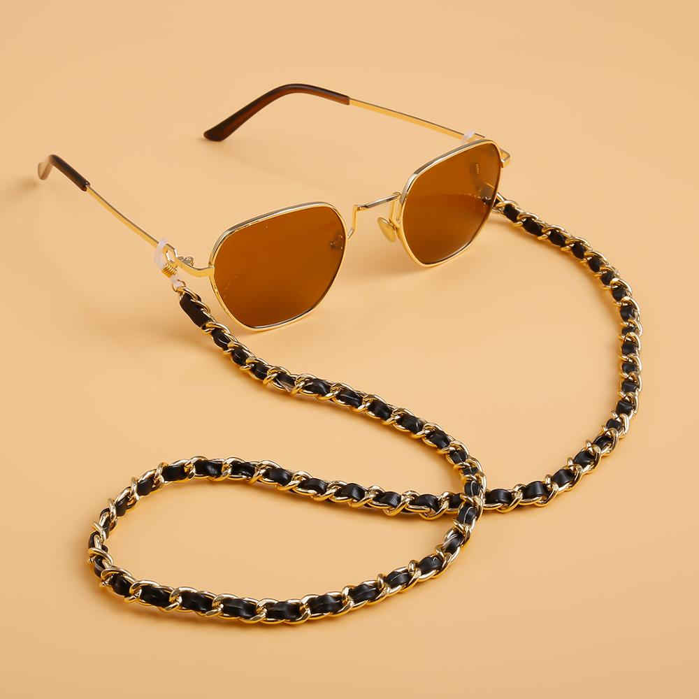 PU Leather Eye Sunglasses Chain Steampunk Holder Cord Lanyard Metal Link Cord Holder Neck Strap Rope String Glasses Accessories