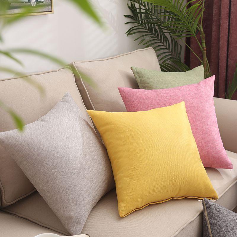 Однотонный льняной чехол для диванной подушки 45*45, наволочка для диванной подушки, офисный домашний декоративный чехол для подушки