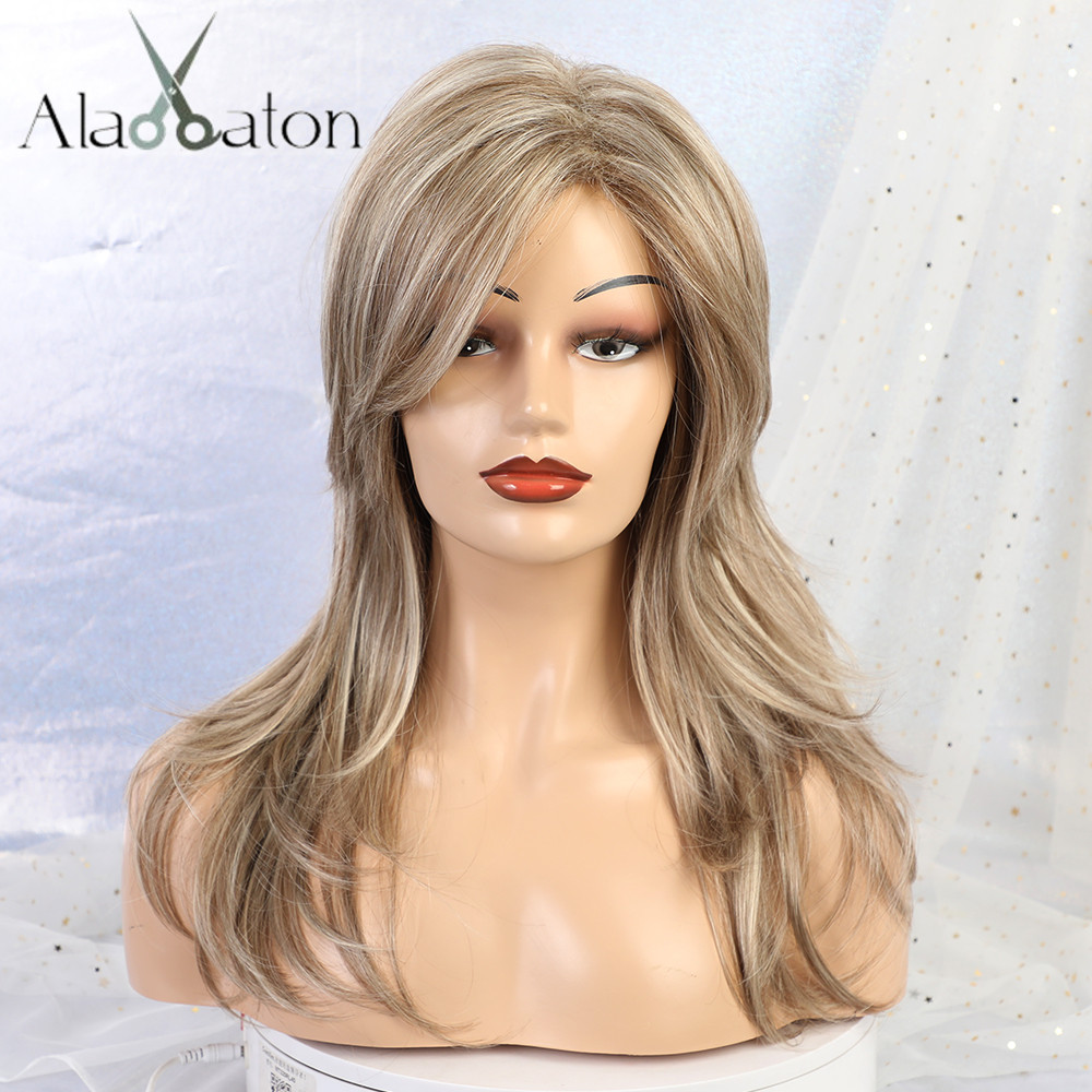ALAN EATON 20'' Wigs For Women Synthetic Hair Brown Middle Long Curly Wig Heat Resistant Wavy Wigs With Bangs Cosplay Ombre