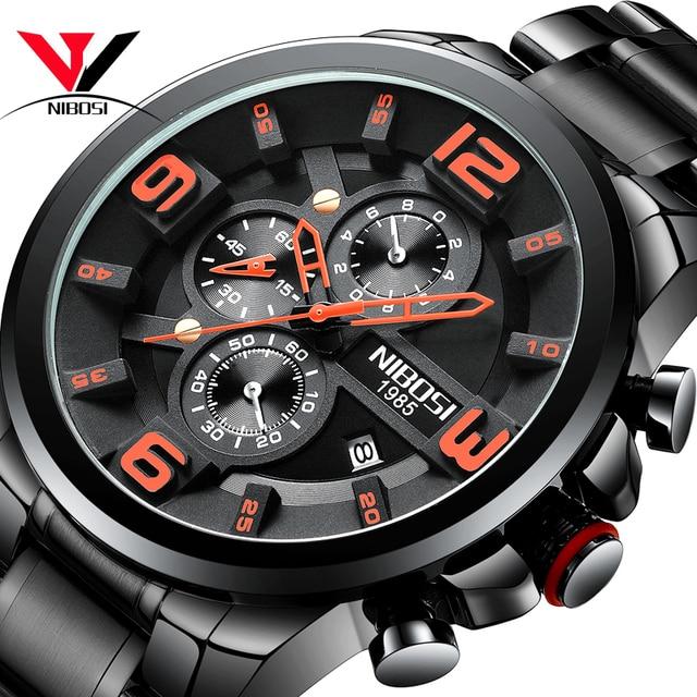 NIBOSI クォーツ/スポーツメンズ腕時計高級ブランド防水ミリタリーアーミーウォッチステンレス鋼大時計男性ビジネス