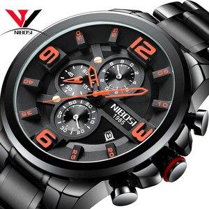 Image 1 - Nibosi relógio de quartzo/esportivo masculino, relógio de marca de luxo à prova d água militar exército em aço inoxidável grande negócios