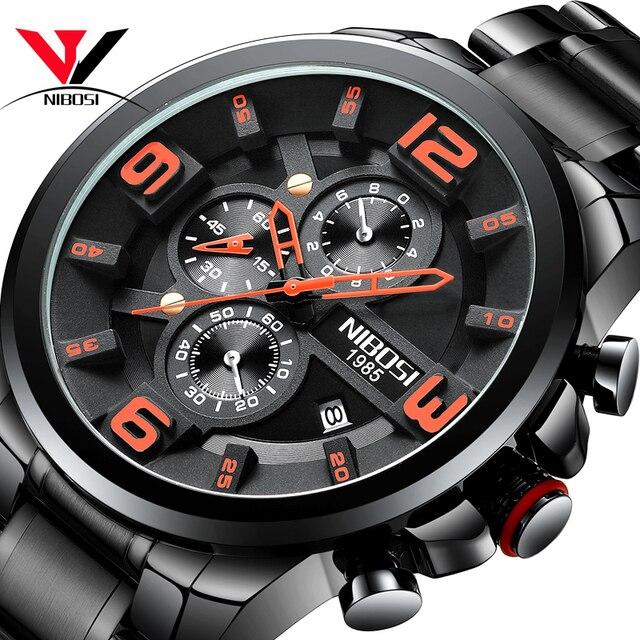 Nibosi relógio de quartzo/esportivo masculino, relógio de marca de luxo à prova d água militar exército em aço inoxidável grande negócios