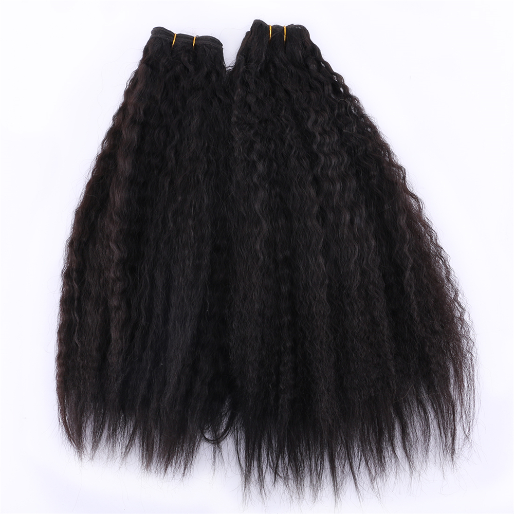 2pcs/lot Natural Black Color Hair Bundles 16-20 Inch Available 70 Gram One Piece Kinky Straight Hair Extension Synthetic Weave