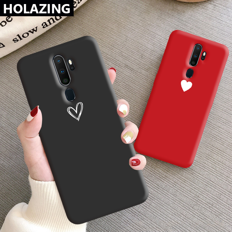for OPPO A9 2020 A11X A5 A7 AX7 AX5S Case Heart Couples Cute Silicone Cover Anti-Scratch Shoockproof Coque Funda image