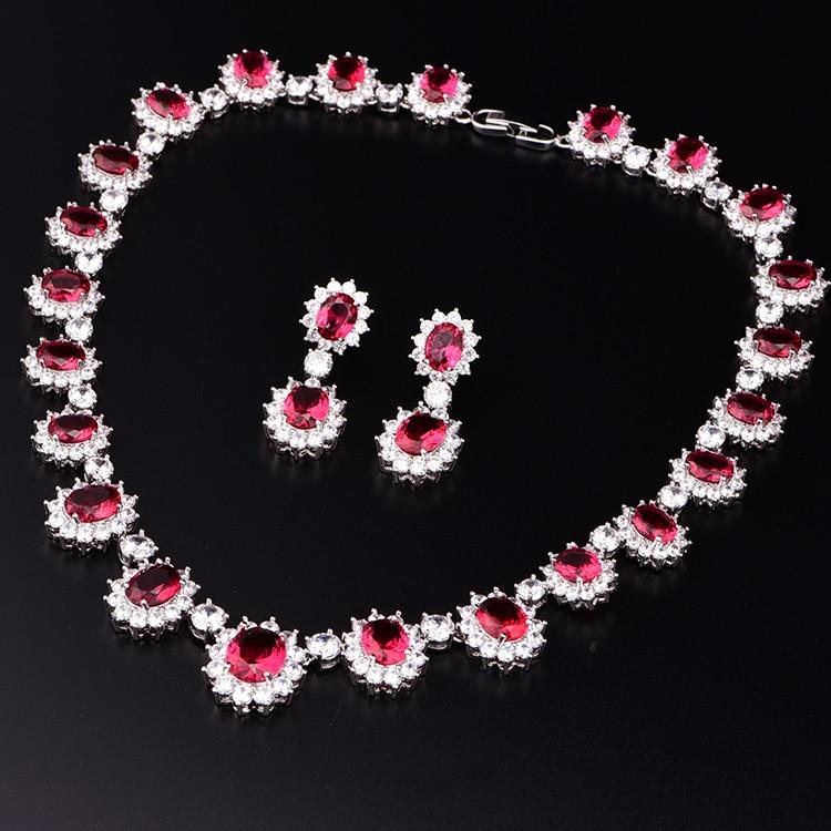Set of 4 Bridesmaid Jewelry Set Bridesmaid Red Jewelry Set Bridesmaid Ruby Jewelry Set Bridal Jewelry Bridal Set Bridesmaid Gift