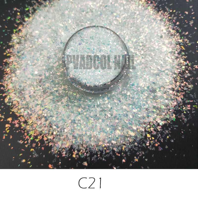 Décoration de ongles en Gel acrylique holographique de Pigment irisé