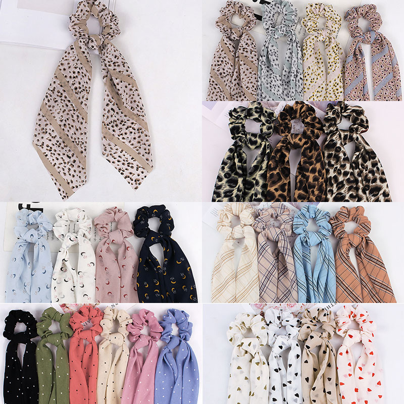 DIY Solid Leopard Print Bow Satin Long Ribbon Ponytail Scarf Hair Tie Scrunchies Women Girls Elastic Hair Bands Hair Accessories
