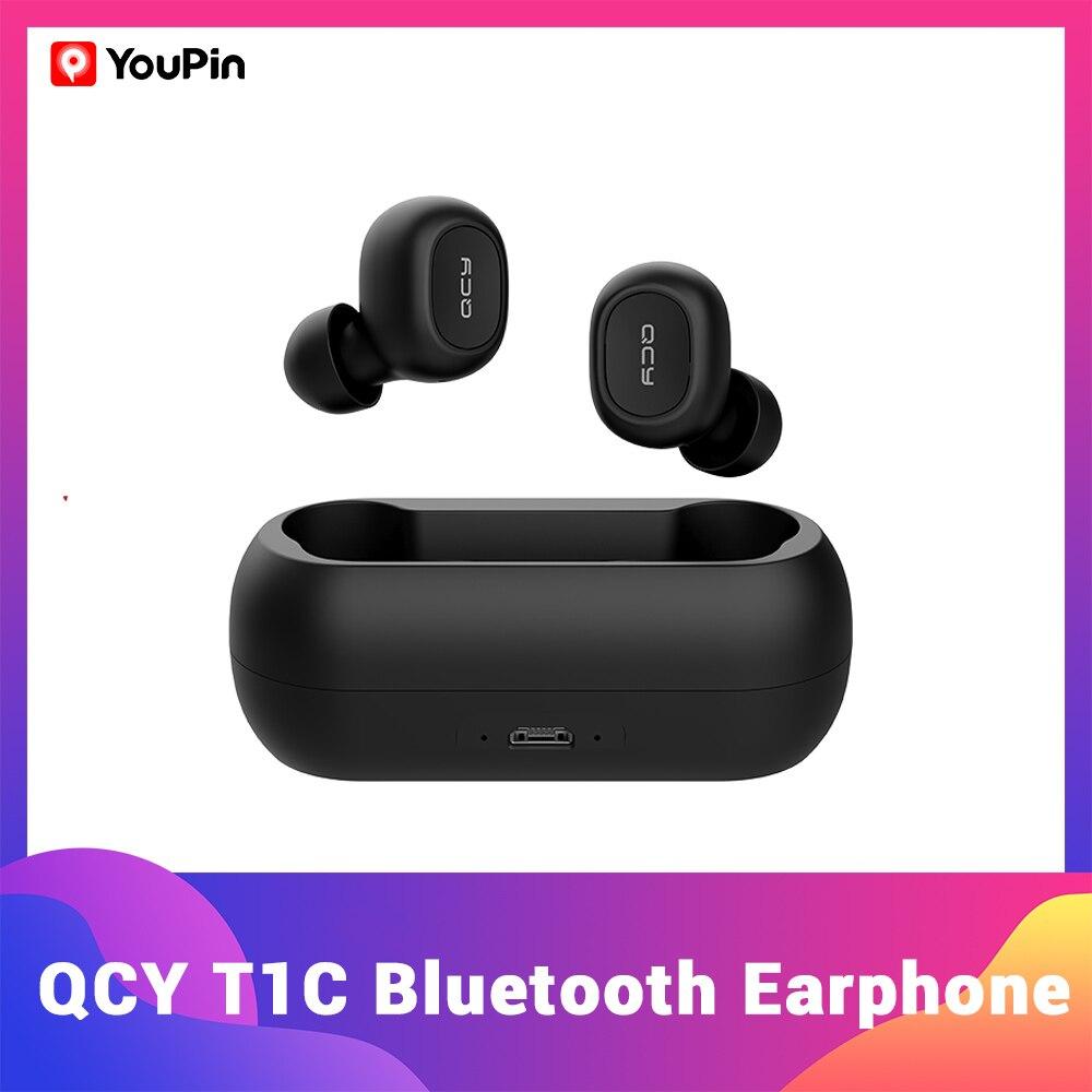 YouPin QCY auriculares inalámbricos QS1 T1C TWS, cascos con Bluetooth V5.0, estéreo 3D, deportivos, con micrófono Dual y caja de carga, novedad|Auriculares y audífonos| - AliExpress