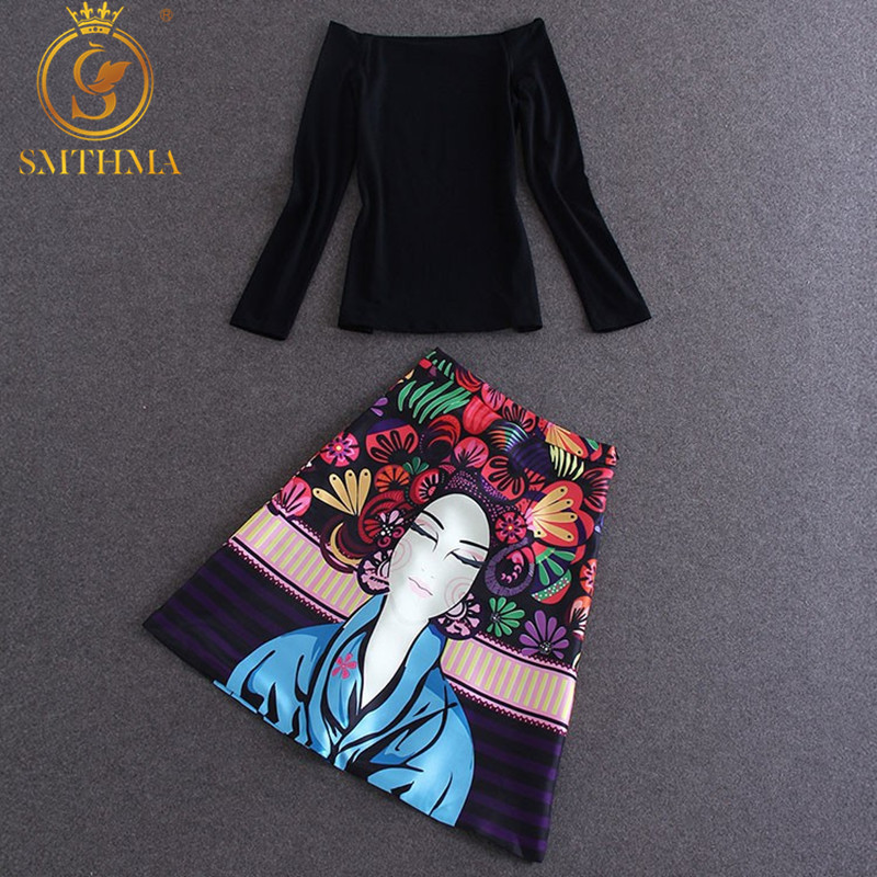 High Street Designer Clothing Set Women's High Quality Black Slash Collar Blouse +2 Piece Colorful Cartoon Printed Skirt Set