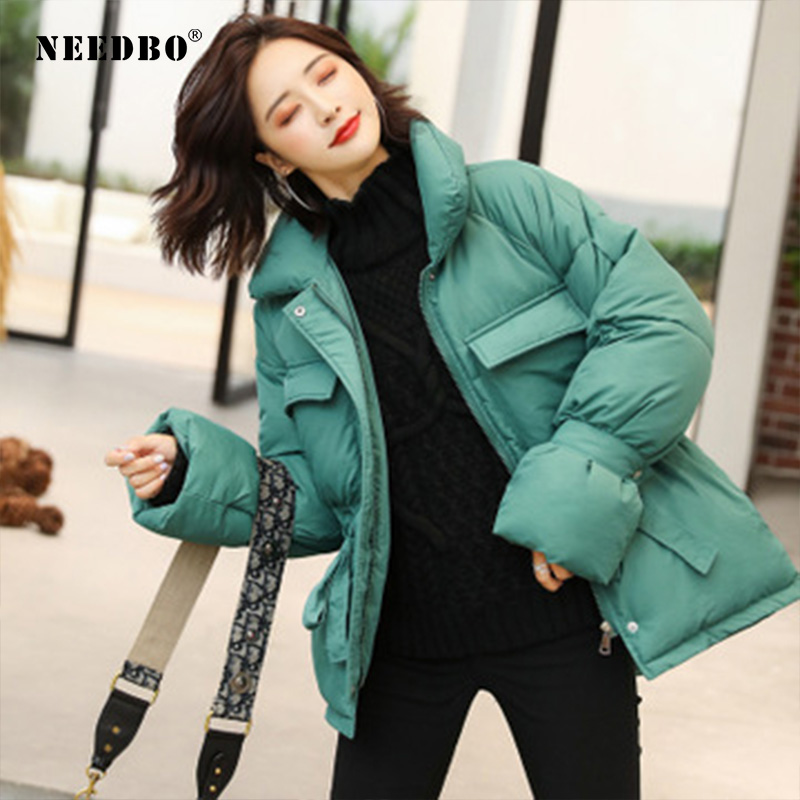 NEEDBO Down Coat Winter Oversize Korean Style Stand Collar Womens Down Jackets Ultra Light Winter Jacket Coat Down Jacket Parka