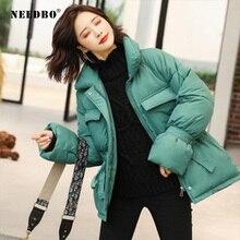 NEEDBO Down Coat Winter Oversize Korean Style Stand Collar Womens Jackets ultra Light Jacket Parka