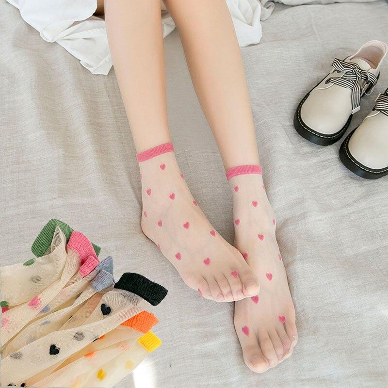 Fishnet Lace Transparent Women Socks New Ultrathin Colorful Sweet Heart Love Mesh Female Sexy Silk Glass Nylon Sheer Ankle Socks