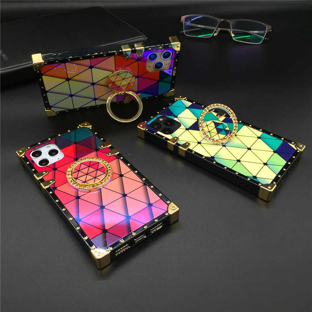 Thời Trang Nhiều Màu Sắc Tam Giác Lưới Vuông Ốp Lưng Dành Cho Samsung Galaxy Samsung Galaxy Note 10 Plus S8 S9 S10 S20 Plus J6 A71 A20 a50 A70 M30 Bao Bọc Điện Thoại