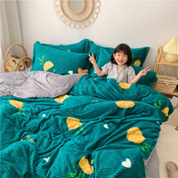Modern Style Magic Velvet 4pcs Duvet Cover Fitted Bed Sheet Pillowcases Jack fruit Strawberry Pig Orange Love Heart Queen