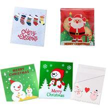 100PCS 10*10CM Christmas Baking Biscuit Bag Handmade Soap Packaging Nougat Egg Yolk Crispy Packs