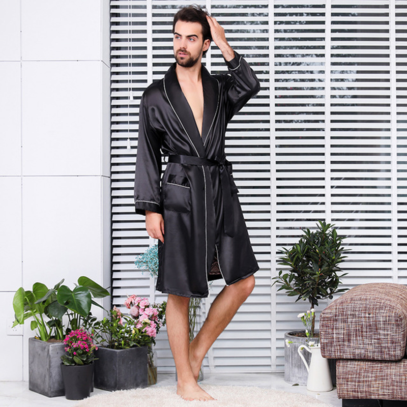 Plus Size 5XL Pajamas Men  Gown Robe Shorts Two Pieces Of Pajamas Set Ice Silk Summer Thin Bathrobe Loose Night Wear Bata Mujer