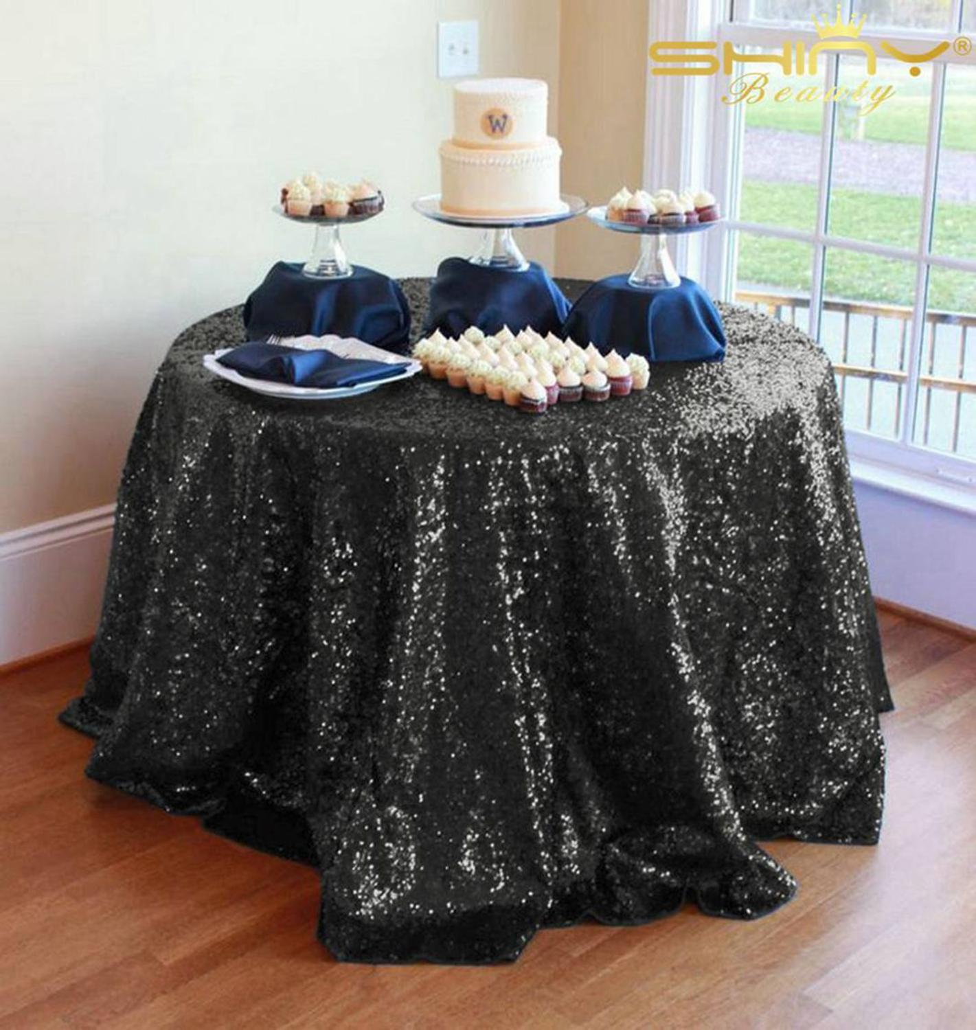 Sequin Tablecloth Round 70Inch Black Sparkle Tablecloths Black Birthday Table Cloths Party Decorations Table Skirt-M1017