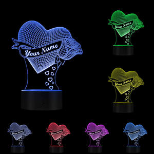 Image 5 - Loving Heart With Rose Personalize Name 3D Effect Optical Illusion Table Lamp Custom Name LED Night Light Valentine Gift For Her