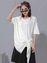 Tamanho grande summerstyle laço e gravata solta, irregular, camiseta lisa, manga curta, camiseta de vestido de cor sólida