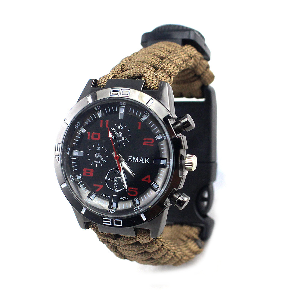 Europe And America Multifunctional Compass Outdoor Survival Watch Climbing Survival Umbrella Rope Weaving Survival Watch Band