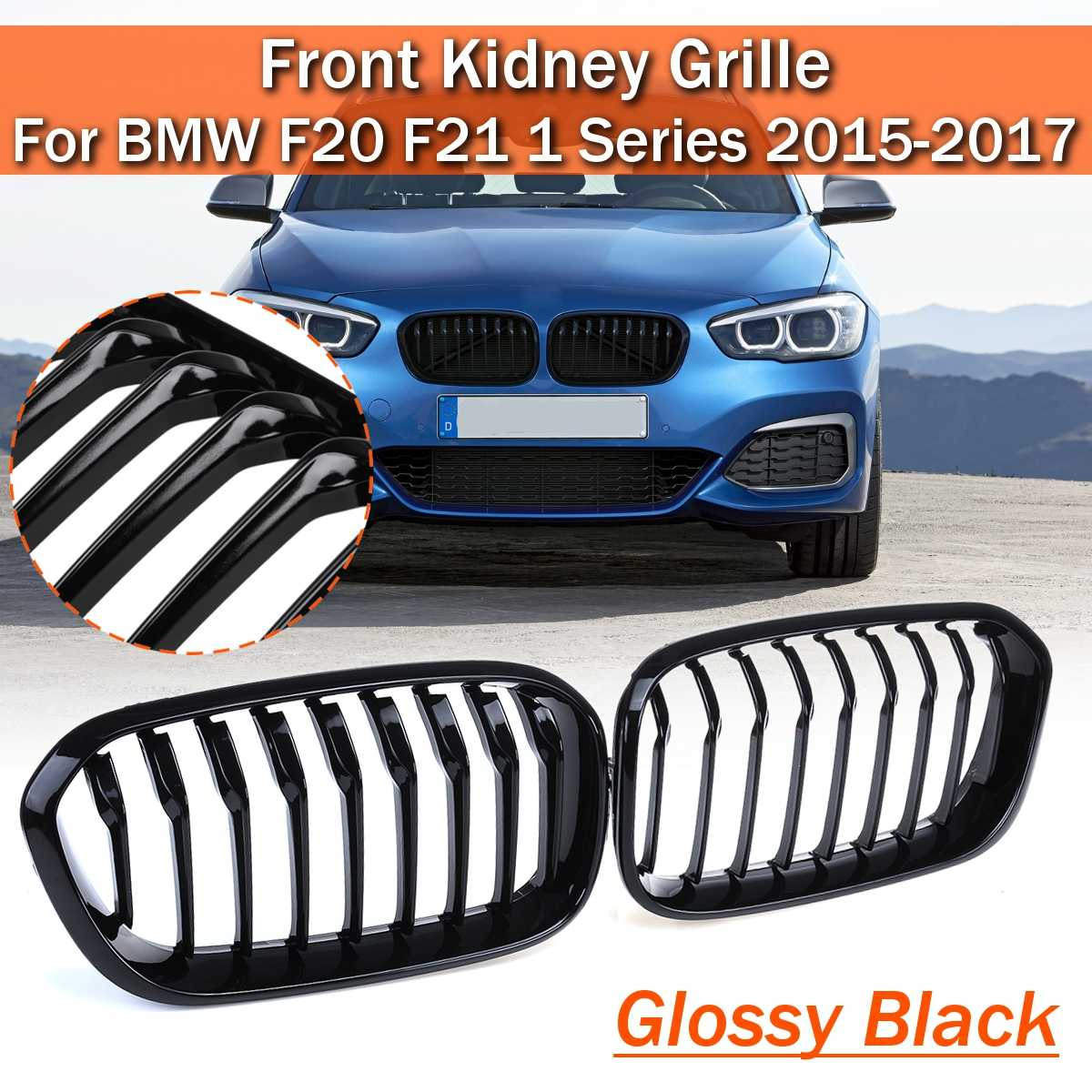 FOR BMW 1 SERIES F20 F21 2014-ON TWIN BAR M STYLE LCI KIDNEY GRILLES GLOSS BLACK