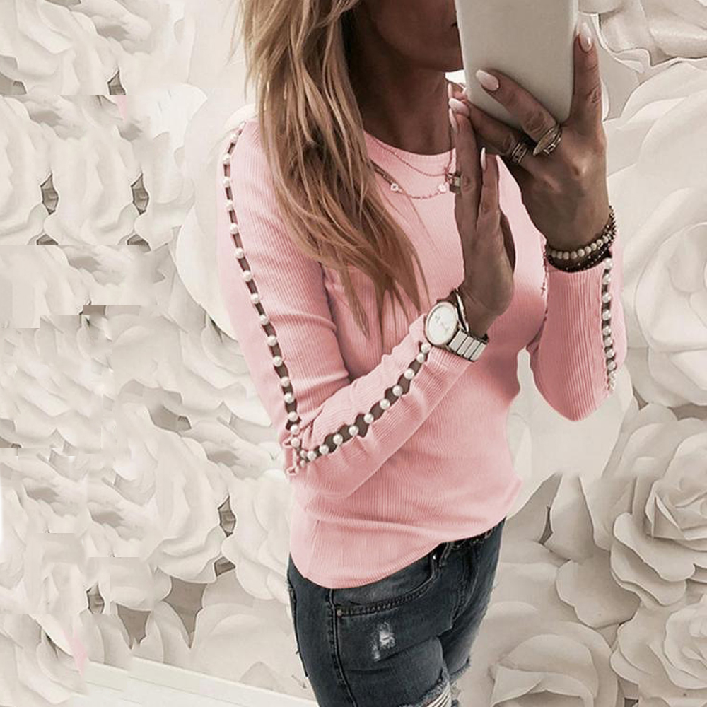 Elegant Pearl Nail Bead Long Sleeve Pink Knit Sweaters Women Invierno 2019 O Neck Hollow Out Pullovers Black Grey Ladies Tops